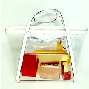 New MICHAEL Michael Kors Whitney Clear Inset Tote